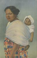 A Native Cherokee Indian Mother with her papoose - Cherokee Indian Reservation. Adjoining Great Smoky Mountain National Park