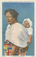 A Native Cherokee mother carrying baby Indian-style. Western North Carolina.