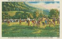 Ani-Tsagi (Indian ball) being played by Cherokee Indians on reservation in Western North Carolina adjoining Great Smoky Mountains National Park.