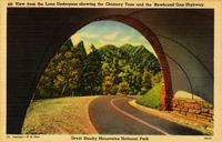 View of the Loop Underpass showing the Chimney Tops and the Newfound Gap Highway, Great Smoky Mountains National Park
