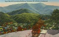 Top of Sky Lift Overlooking Gatlinburg, Tennessee Mount LeConte in background (G-30)
