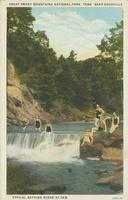 Great Smoky Mountains National Park, Tenn. Near Knoxville Typical Bathing Scene at Dam