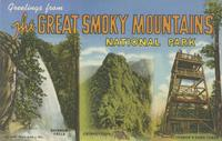 Greetings from the Great Smoky Mountains National Park Rainbow Falls, Chimney Tops, Clingman's Dome Tower (W-2)