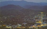 Night View of Gatlinburg, Tennessee Showing Mount LeConte in the Background (GS-262)