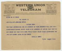 Telegram from Rosalia Abreu to William Jennings Bryan
