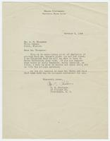 Letter from W. E. Chalmers to W. E. Thompson