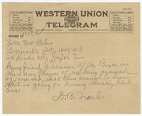 Telegram from D. B. Traxler to SK Hicks atty Dayton TN