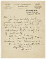 Letter from Reese Hicks to Sue K. Hicks