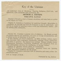 "Leaflets for Arthur A. Stevens' book ""Key of the Universe"""