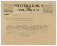 Telegram from Jay J. McCarthy to States Attorney prosecuting Scopes case