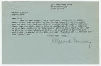 Letter from Clifford Carmody to Sue K. Hicks