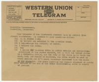 Unsigned telegram to Nashville Tennessean, likely from Herbert Hicks