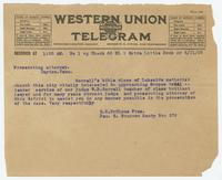 Telegram from E.B. McGlone and Ben S. Brannon to prosecuting attorney