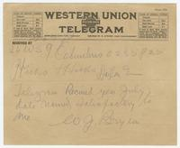 Telegram from W.J. Bryan to Hicks & Hicks
