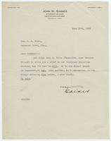 Letter from John W. Gaines to William Jennings Bryan