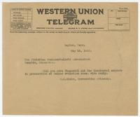 Telegram from S.K.Hicks to The Christian Fundamentalists Association