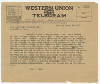 Telegram from Sue K. Hicks to Nashville Tennessean