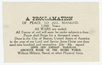 """A PROCLAMATION OF PEACE TO ALL MANKIND"""
