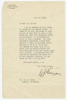 Letter from W.J. Bryan to S.K. Hicks