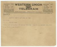 Telegram from Sue to H. E. Hicks
