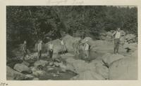 Crossing river at Greenbrier on way back from Guyot Aug 31 - Sept 1-2-1929 (image number 346)