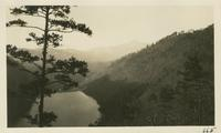 View of Calderwood Dam with Mt. of North Carolina in background taken from state Highway on way to Deal Gap. Feb 15-1931 (image number 665)