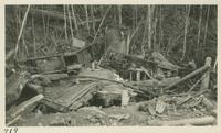 Wreck on Little River Lumber Co. above Tremont on April 10-1931 Picture taken on April 12-1931. 2 engines and seven cars (image number 719).