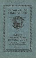 Annual Publication of the Smoky Mountains Hiking Club: Program of Hikes for 1930 and Other Information