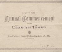 Commencement of the University of Tennessee (Knoxville campus), 1889 Spring