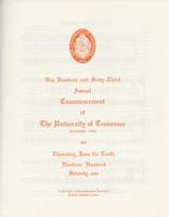 Commencement of the University of Tennessee, Knoxville, 1971 Spring