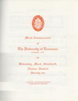Commencement of the University of Tennessee, Knoxville, 1971 Winter