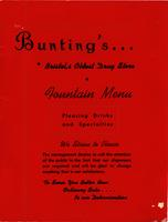 Menu from Bunting`s Drug Store