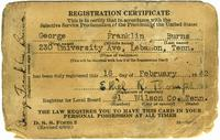 Selective Service Registration Card of George Franklin Burns