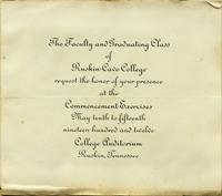 Ruskin-Cave College Commencement Invitation