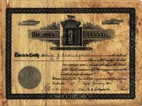 Certificate for shares in the Hiwassee Bank