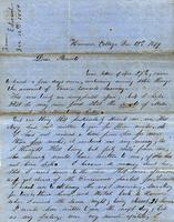 [Letter] 1849 Dec. 12, Hanover College [Indiana] [to] Parents [Mr. and Mrs. Ethel Henry Porter]