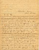 [Letter] 1843 Apr. 30, Columbia, Tenn[essee] [to] Col[onel] R[obert] J. Chester, Jackson, Tenn[essee]