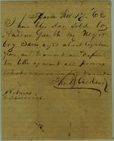 Bill of Sale by Thomas J. Cashland in Sparta, Tennessee