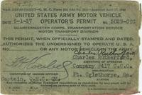 United States Army Motor Vehicle Permit of Charles E. Rutherford