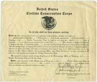 Charles Edward Rutherford`s promotion certificate to Assistant Leader in the C.C.C.