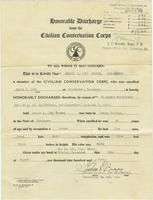 Honorable discharge papers of Jessie L. Barnes from the Civilian Conservation Corps
