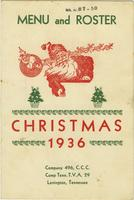 Camp Tenn., TVA 29 Christmas 1936 Menu and Roster
