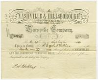 Nashville [amp] Hillsborough Turnpike Company stock certificate