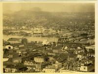 Aerial view of downtown Nashville, Tennessee, looking towards East Nashville, during the flood of 1937