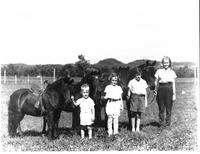 Dickinson Children with horses, at Travellers Rest, c. 1940