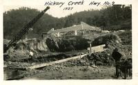 Building a bridge over Hickory Creek in Campbell County, Tennessee