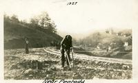 Men working on a railroad in Campbell County, Tennessee.