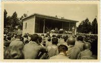Jack Benny performing for U.S. troops in Munich, Germany in July, 1945