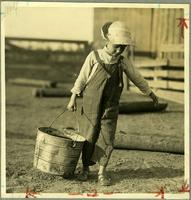 Chores: a young farm child carries a pail