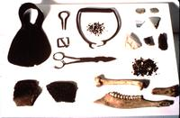 Photograph of assemblage of artifacts, from Overhill Cherokee villages, Tennessee